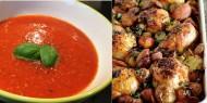 Meniu Supa de Rosii cu Orez si Pui la Cuptor cu Chorizo si Cartofi