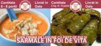 Meniu Supa Crema de Legume cu Piept de Pui si Sarmale in Foi de Vita
