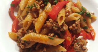 Paste cu Carne de Vita, Ardei Capia si Masline